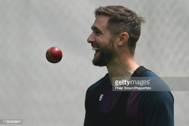 Chris Woakes of England looks on during a training session at Seddon Park before the second test match against New Zealand on November 27 2019 in...
