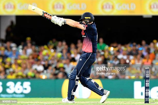 Chris Woakes of England plays a shot during game two of the One Day International series between Australia and England at The Gabba on January 19...