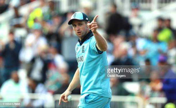 Chris Woakes of England points to the Pakistan supporters after catching Iman-ul-haq during the Group Stage match of the ICC Cricket World Cup 2019...