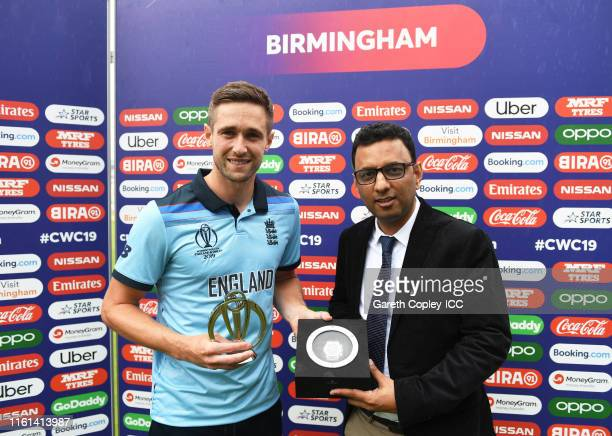 Chris Woakes of England poses after being named Man of the Match during the SemiFinal match of the ICC Cricket World Cup 2019 between Australia and...