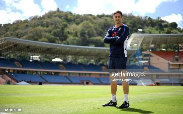 Chris Woakes of England poses for a portrait ahead of a nets session at the National Cricket Stadium on February 24 2019 in Grenada Grenada