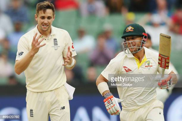 Chris Woakes of England reacts after Warner of Australia digs out his yorker during day four of the Fourth Test Match in the 2017/18 Ashes series...