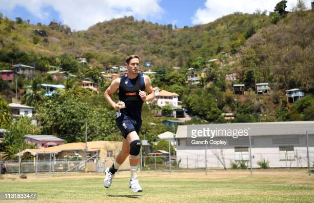 Chris Woakes of England runs into bowl during a nets session at the National Cricket Stadium on February 24 2019 in Grenada Grenada