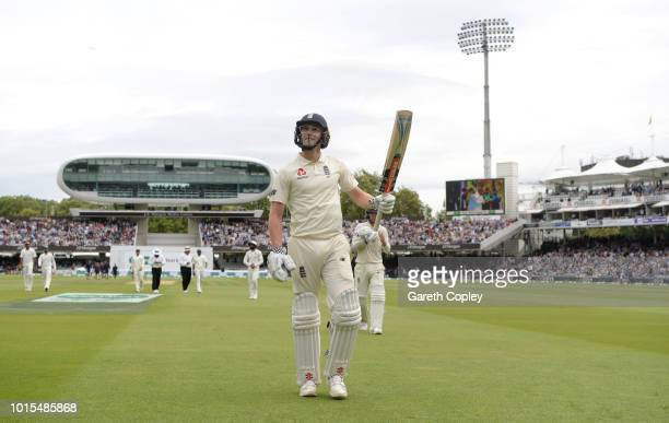 Chris Woakes of England salutes the crowd as he leaves the field after making 137 runs during day four of the 2nd Specsavers Test between England and...