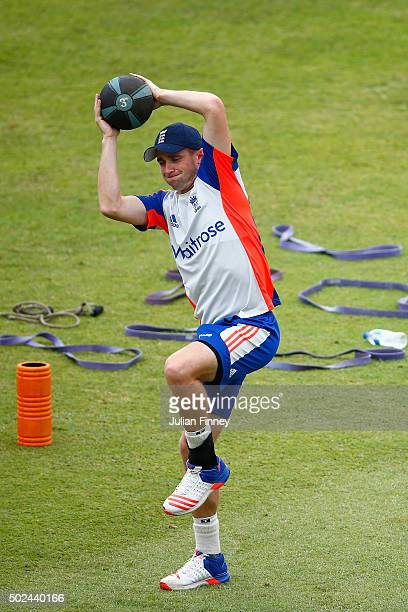 Chris Woakes of England stretches during England nets and training session at Sahara Stadium Kingsmead on December 25 2015 in Durban South Africa