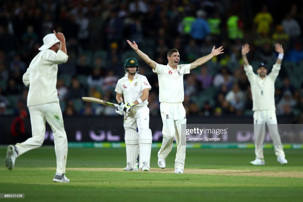 Chris Woakes of England successfully appeals for lbw to dismiss Steve Smith of Australia during day three of the Second Test match during the 2017/18 Ashes Series between Australia and England at Adelaide Oval on December 4, 2017 in Adelaide, Australia.