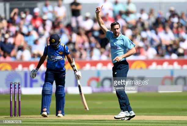 Chris Woakes of England successfully appeals for the wicket of Dasun Shanaka of Sri Lanka during the 1st One Day International between England and...