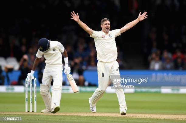 Chris Woakes of England successfully appeals for the wicket of Hardik Pandya of India during day four of the 2nd Specsavers Test between England and...