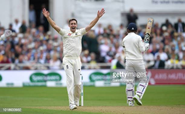 Chris Woakes of England successfully appeals for the wicket of Lokesh Rahul of India during the Specsavers 3rd Test match between England and India...
