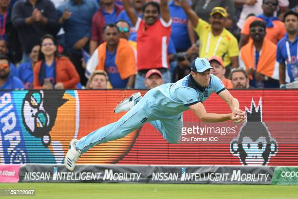 Chris Woakes of England takes a catch to dismiss Rishabh Pant of India during the Group Stage match of the ICC Cricket World Cup 2019 between England...