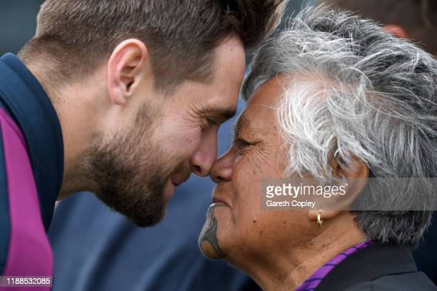 Chris Woakes of England takes part in a hongi during a Maori welcome ceremony at Bay Oval on November 19, 2019 in Mount Maunganui, New Zealand.