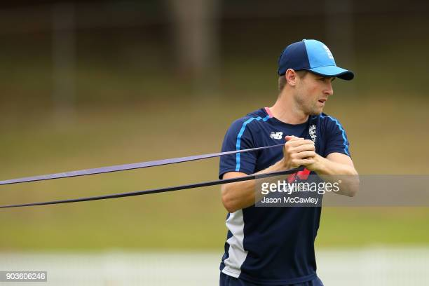 Chris Woakes of England warms up prior to the One Day Tour Match between the Cricket Australia XI and England at Drummoyne Oval on January 11 2018 in...