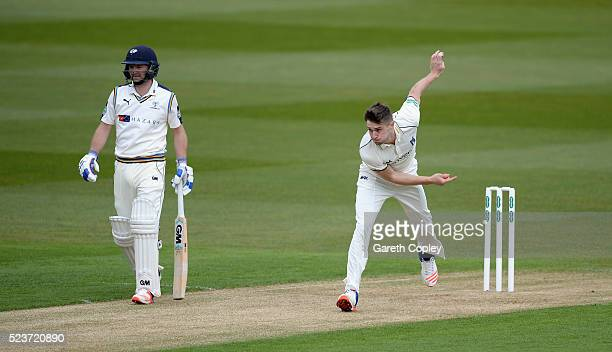 Chris Woakes of Warwickshire bowls during the Specsavers County Championship Division One match between Warwickshire and Yorkshire at Edgbaston on...