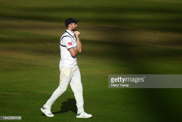 Chris Woakes of Warwickshire looks on during Day Four of the LV= Insurance County Championship match between Warwickshire and Somerset at Edgbaston...