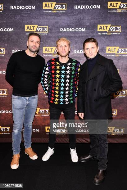 Chris Wolstenholme, Dominic Howard, and Matt Bellamy pose backstage at Not So Silent Night presented by Radio.com at Barclays Center on December 6,...
