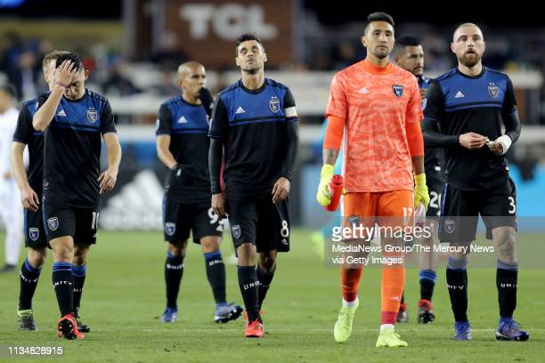Chris Wondolowski and the San Jose Earthquakes walk off the field after they lose 03 to the Minnesota United FC in a MLS game at Avaya Stadium in San...