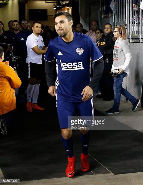 Chris Wondolowski is introduced during the Kick In For Houston Charity Soccer Match at BBVA Compass Stadium on December 16 2017 in Houston Texas