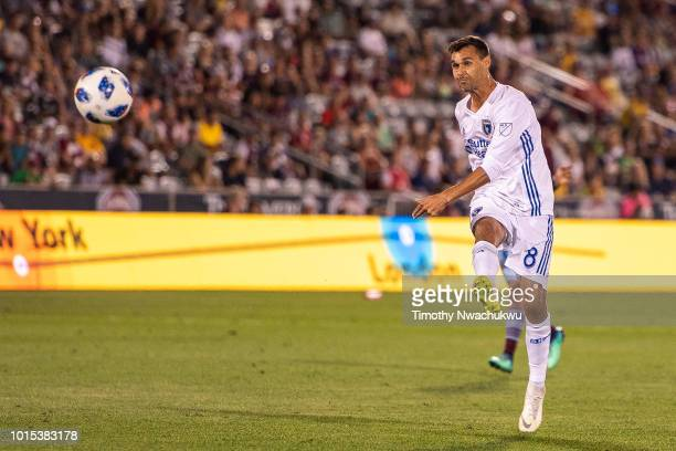 Chris Wondolowski of San Jose Earthquakes attempts a shot against the Colorado Rapids at Dick's Sporting Goods Park on August 11 2018 in Commerce...