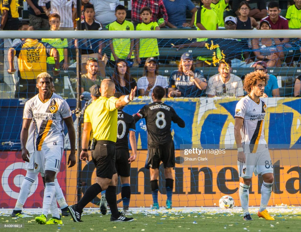 Chris Wondolowski #8 of San Jose Earthquakes celebrates his goal in the LA Galaxy goal in front of the Angel City Brigade during the Los Angeles Galaxy's MLS match against San Jose Earthquakes at the StubHub Center on August 27, 2017 in Carson, California. San Jose won the match 3-0