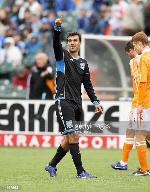 Chris Wondolowski of the San Jose Earthquakes in action against the Houston Dynamo at ATT Park on March 17 2012 in San Francisco California