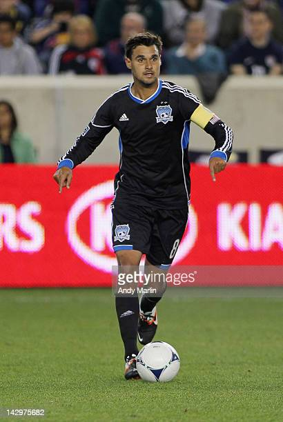 Chris Wondolowski of the San Jose Earthquakes plays the ball against the New York Red Bulls during the game at Red Bull Arena on April 14 2012 in...