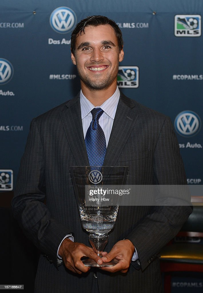 Chris Wondolowski of the San Jose Earthquakes poses with the 2012 MLS Most Valuable Player Award at The Home Depot Center on November 29, 2012 in Carson, California.