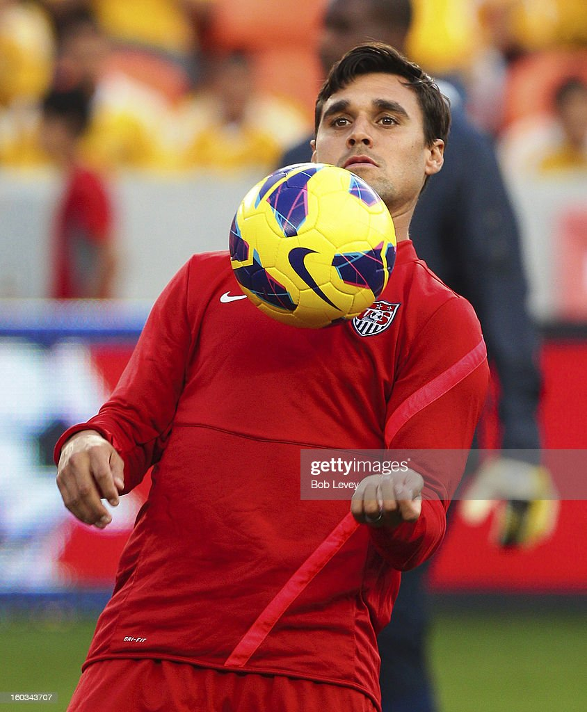 Chris Wondolowski of the San Jose Earthquakes practices during a training session of the U.S. Men's National Team at BBVA Compass Stadium on January 28, 2013 in Houston, Texas.