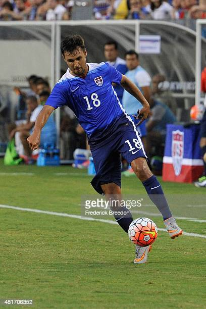 Chris Wondolowski of the United States Men's National team plays against Guatemala in an international friendly match at Nissan Stadium on July 3...
