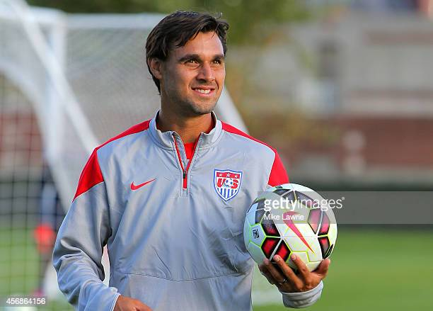 Chris Wondolowski of the United States trains during a United States soccer training session at Ohiri Field on October 8 2014 in Boston Massachusetts