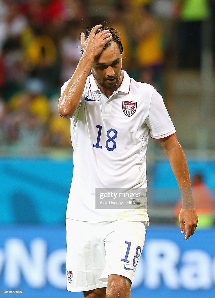 Chris Wondolowski of the United States walks off the pitch dejected after losing the 2014 FIFA World Cup Brazil Round of 16 match between Belgium and USA at Arena Fonte Nova on July 1, 2014 in Salvador, Brazil.