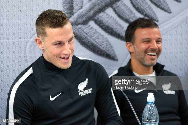 Chris Wood and coach Anthony Hudson speak to media prior to a New Zealand All Whites training session at Westpac Stadium on November 10 2017 in...