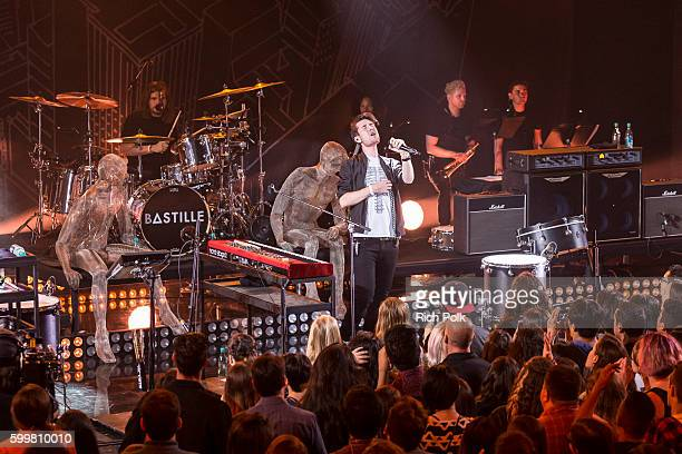 Chris Wood and Dan Smith of Bastille perform on stage at iHeartRadio Theater on September 6 2016 in Burbank California