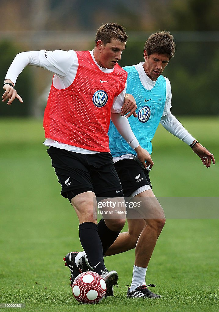 Chris Wood competes with Andrew Boyens for the ball during a New Zealand All Whites training session at North Harbour Stadium on May 20, 2010 in Auckland, New Zealand.