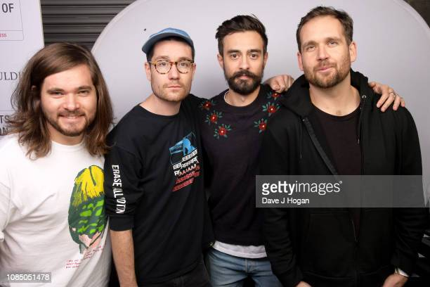Chris Wood Dan Smith Kyle J Simmons and Will Farquarson of Bastille pose backstage at Ellie Goulding's Streets of London Charity Gig at The SSE Arena...