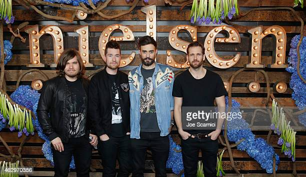 Chris Wood Dan Smith Kyle Simmons and Will Farquarson of Bastille attend Nielsen Hosts PreGRAMMY Celebration Connecting Media Brands and...