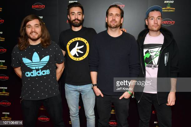 Chris Wood Kyle J Simmons Will Farquarson and Dan Smith of Bastille pose during KROQ Absolut Almost Acoustic Christmas 2018 at The Forum on December...