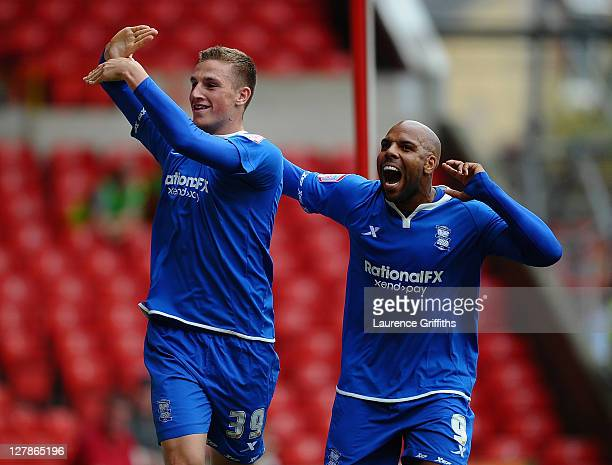 Chris Wood of Birmingham City celebrates the second goal with Marlon King during the npower Championship match between Nottingham Forest and...