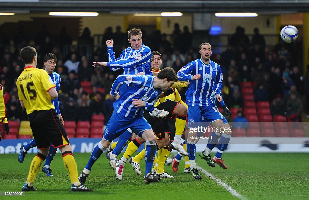 Chris Wood of Brighton (tallest) hits the bar during the FA Cup Sponsored by E.ON 4th Round match between Watford and Brighton & Hove Albion at Vicarage Road on January 29, 2011 in Watford, England.