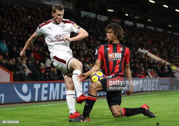 Chris Wood of Burnley and Nathan Ake of AFC Bournemouth during the Premier League match between AFC Bournemouth and Burnley at Vitality Stadium on...