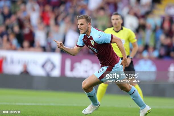 Chris Wood of Burnley celebrates after scoring a goal to make it 10 and 21 on aggregate during the UEFA Europa League Second Qualifying Round 2nd Leg...