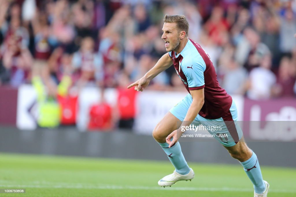 Chris Wood of Burnley celebrates after scoring a goal to make it 1-0 and 2-1 on aggregate during the UEFA Europa League Second Qualifying Round: 2nd Leg match between Burnley and Aberdeen at Turf Moor on August 2, 2018 in Burnley, England.
