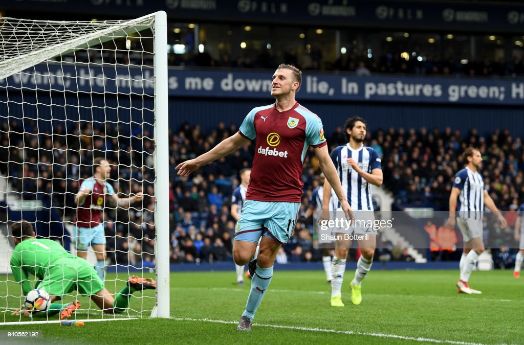 Chris Wood of Burnley celebrates after scoring his sides second goal during the Premier League match between West Bromwich Albion and Burnley at The Hawthorns on March 31, 2018 in West Bromwich, England.