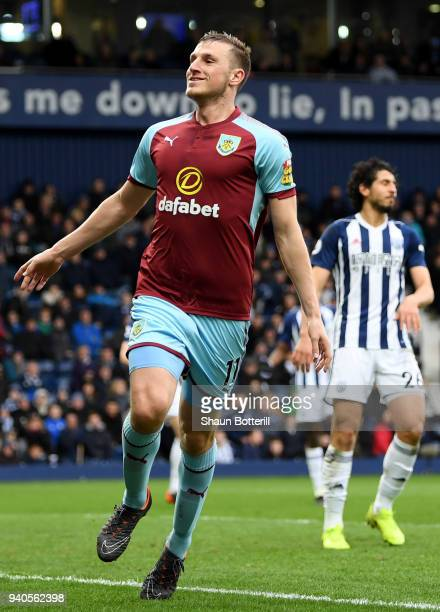 Chris Wood of Burnley celebrates after scoring his sides second goal during the Premier League match between West Bromwich Albion and Burnley at The...