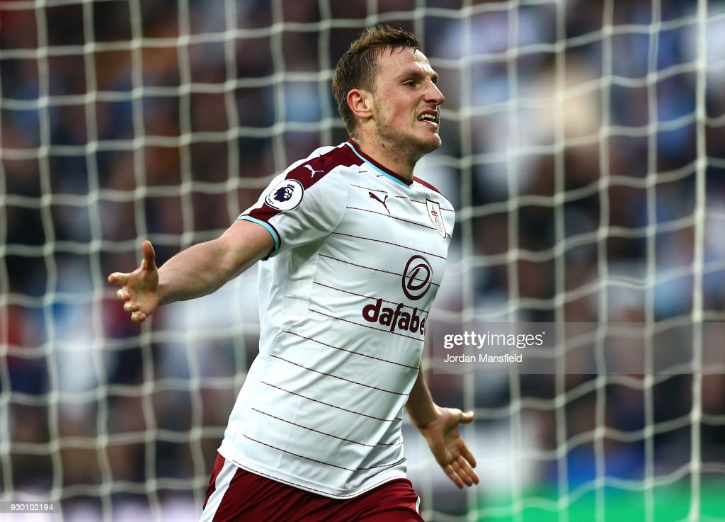 Chris Wood of Burnley celebrates after scoring his sides third goal during the Premier League match between West Ham United and Burnley at London Stadium on March 10, 2018 in London, England.