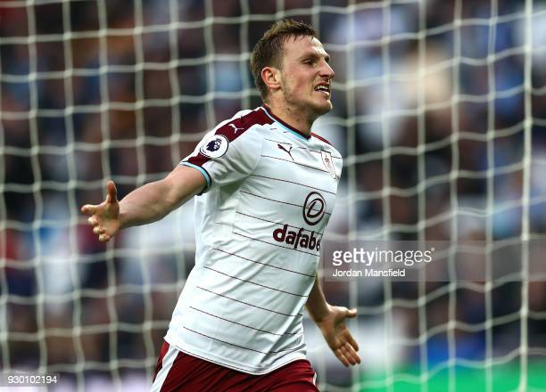 Chris Wood of Burnley celebrates after scoring his sides third goal during the Premier League match between West Ham United and Burnley at London...