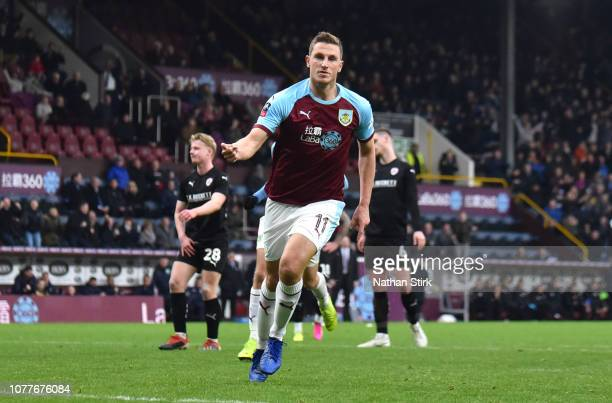Chris Wood of Burnley celebrates after scoring his team's first goal during the FA Cup Third Round match between Burnley and Barnsley at Turf Moor on...