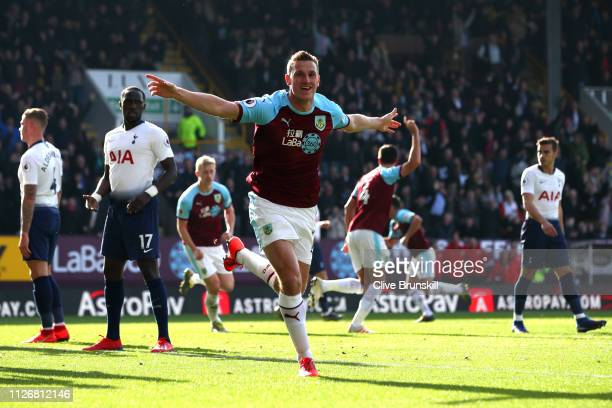 Chris Wood of Burnley celebrates after scoring his team's first goal during the Premier League match between Burnley FC and Tottenham Hotspur at Turf...
