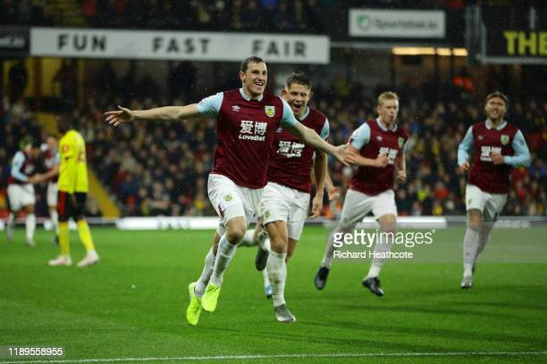 Chris Wood of Burnley celebrates after scoring his team's first goal during the Premier League match between Watford FC and Burnley FC at Vicarage...