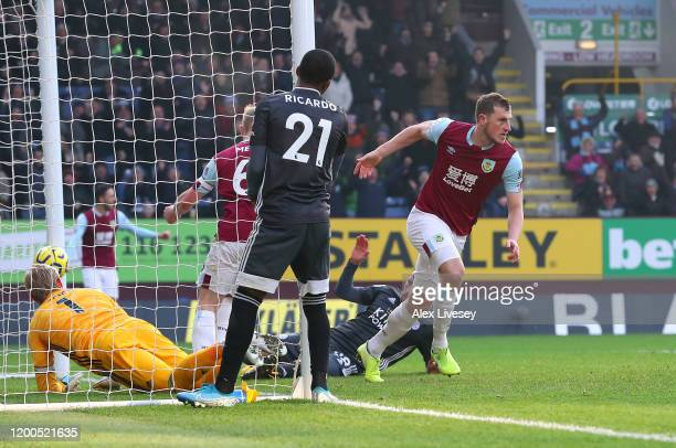 Chris Wood of Burnley celebrates after scoring his team's first goal during the Premier League match between Burnley FC and Leicester City at Turf...