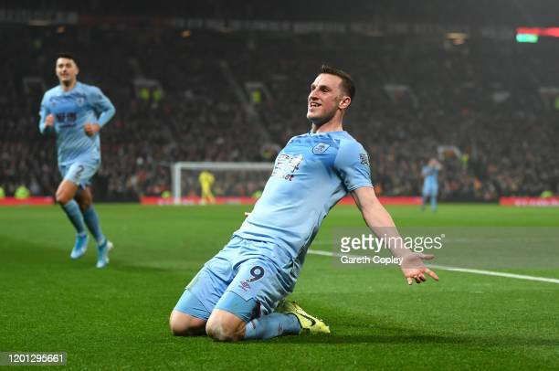 Chris Wood of Burnley celebrates after scoring his team's first goal during the Premier League match between Manchester United and Burnley FC at Old...